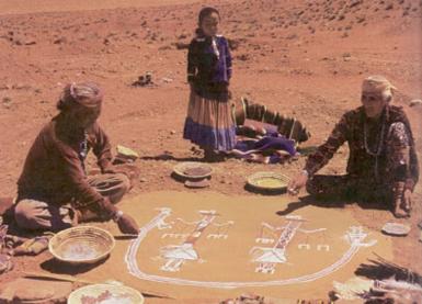Indiens Navajos et la peinture magique sur sable