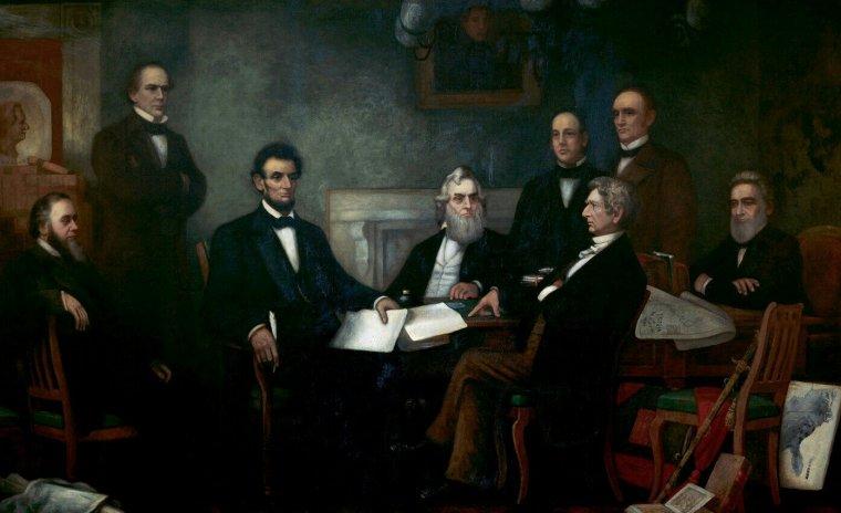 Abraham Lincoln et son cabinet réunis pour la 1ère lecture de la proclamation d'émancipation, en 1862